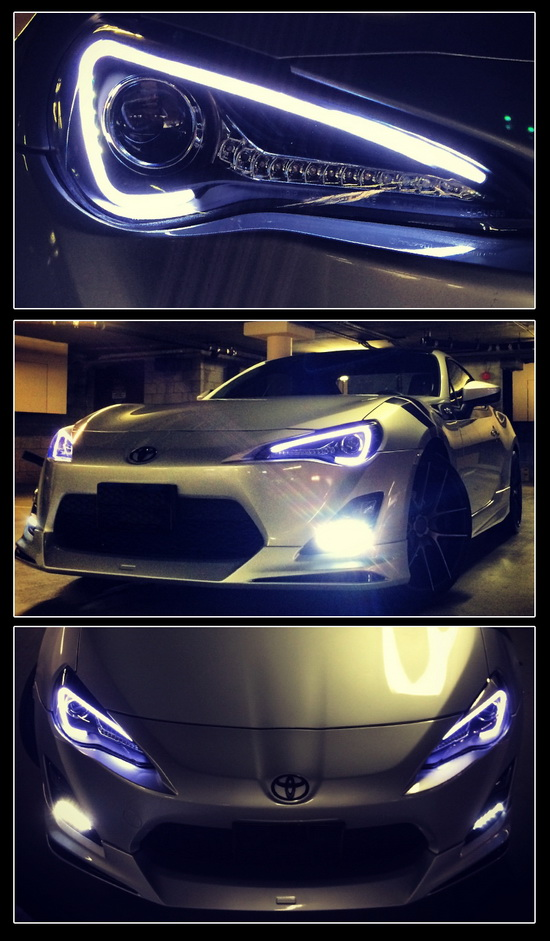 13-14 Scion FR-S Black Housing LED DRL Projector Headlights