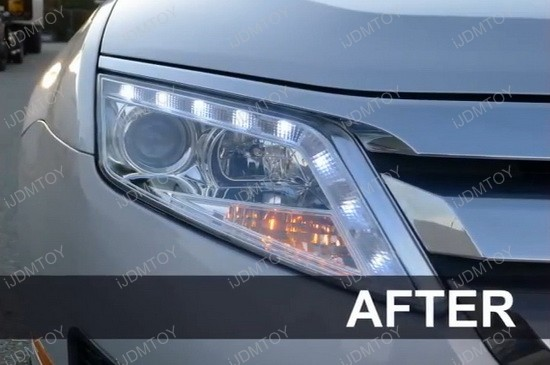 2010-2012 Ford FUSION Black Housing R8 Style Halo Angel Eye Projector LED Headlights