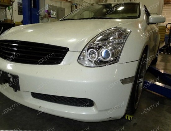 03-05 Infiniti G35 2DR COUPE Chrome Housing Dual Halo Angel Eyes Projector LED Headlights
