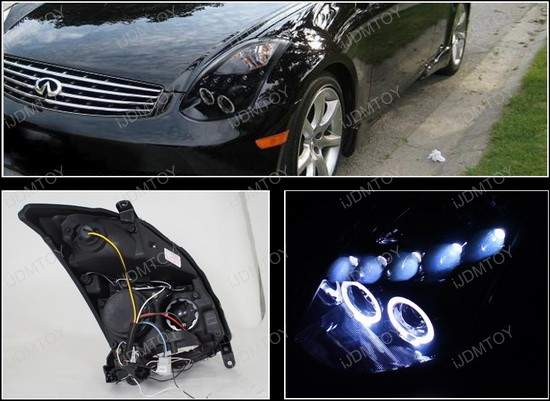 03 05 Infiniti G35 2dr Coupe Smoked Lens Dual Halo Angel Eyes Projector Led Headlights