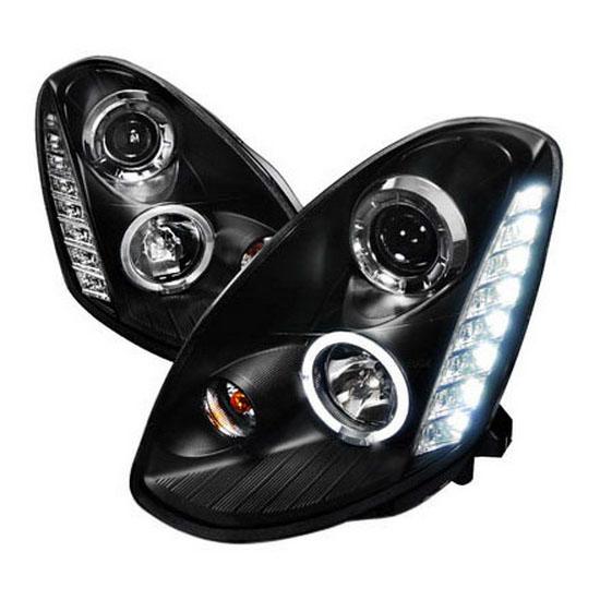 2005-2006 Infiniti G35 4-Door SEDAN Black Housing Clear Lens Halo Rim Angel Eye Projector LED Headlights