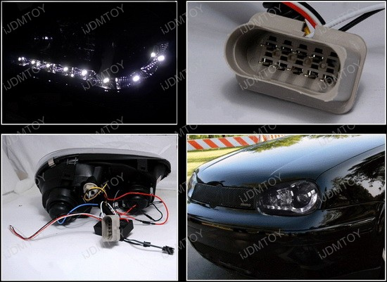 1999-2003 Volkswagen GOLF Black Housing R8 Style Halo Angel Eye Projector LED Headlights