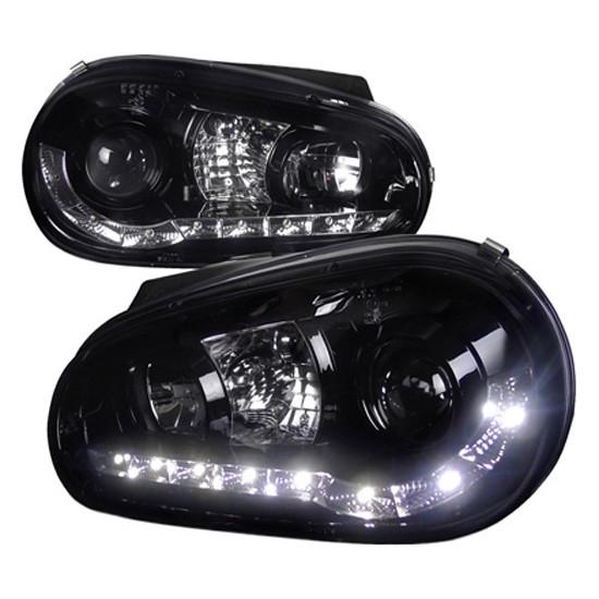 1999-2003 Volkswagen GOLF Black Housing R8 Style Halo Angel Eye Projector LED Headlights