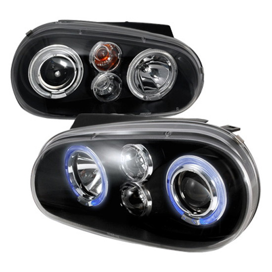 1999-2005 Volkswagen GOLF Black Housing Dual Halo Angel Eyes Projector Headlights