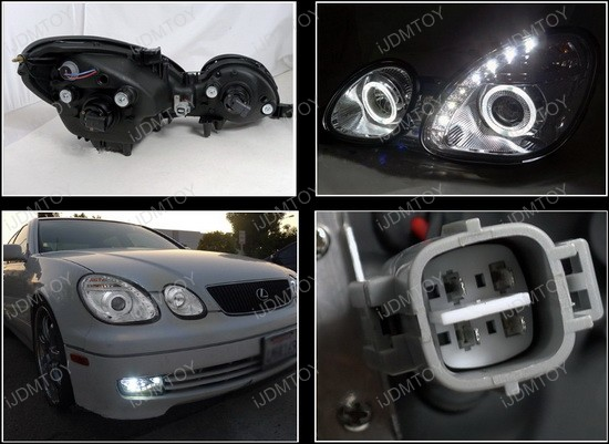 LHP GS30098 RS 4 98 05 lexus gs300 gs400 gs430 chrome dual halo projector led HID Ballast Schematic at bayanpartner.co