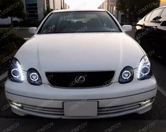 98-05 Lexus GS300 GS400 GS430 Black Housing Dual Halo Angel Eyes Projector LED Headlights