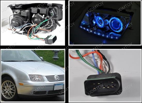 99-04 Volkswagen JETTA Chrome Halo Angel Eyes Projector Headlight