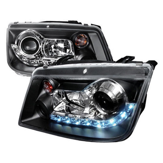 99-04 Volkswagen JETTA Black Housing R8 Style Projector LED Headlights