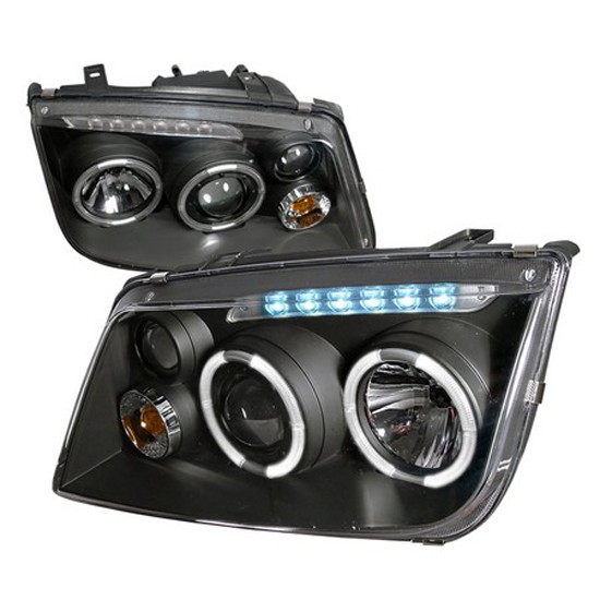 99-04 Volkswagen JETTA Chrome Housing Halo Angel Eyes Projector LED Headlights