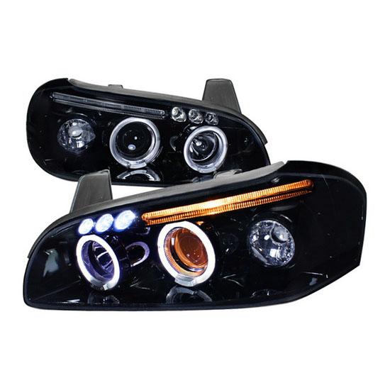 2000-2001 Nissan MAXIMA Black Housing Dual Halo Angel Eyes Projector LED Headlights