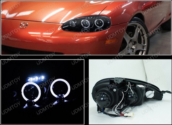 2001-2005 Mazda Miata MX-5 Black Housing Dual Halo Angel Eyes Projector LED Headlights
