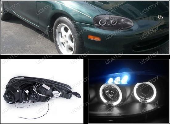01-05 Mazda MIATA BASE CONVERTIBLE/LS CONVERTIBLE/MAZDASPEED CONVERTIBLE Black Housing Dual Halo Angel Eyes Projector LED Headlights