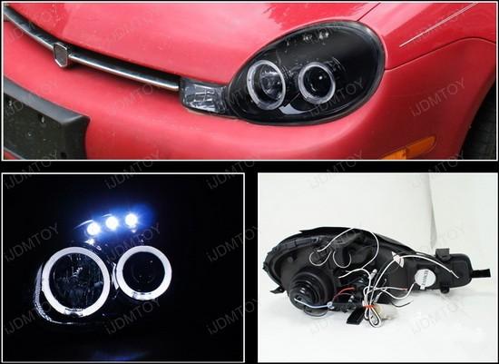 LHP NEO00G TM 4 00 02 dodge neon black dual halo angel eyes projector led headlights 2003 Dodge Neon at soozxer.org