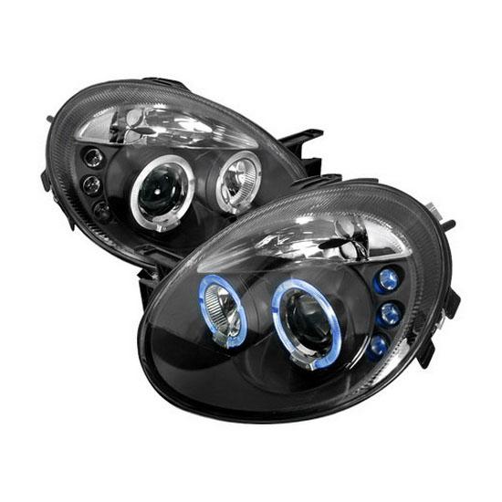 2003-2005 Dodge NEON Black Housing Dual Halo Angel Eyes Projector Headlights