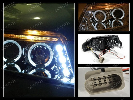 01-05 Volkswagen Passat Chrome Dual Halo Projector Headlights with LEDs