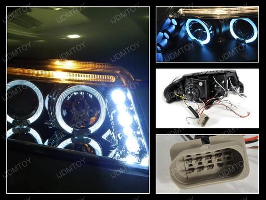 01-05 Volkswagen Passat Black Dual Halo Projector Headlights with LEDs