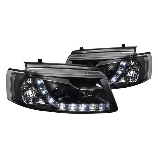 97-00 Volkswagen PASSAT Black Housing R8 Style Projector Headlights