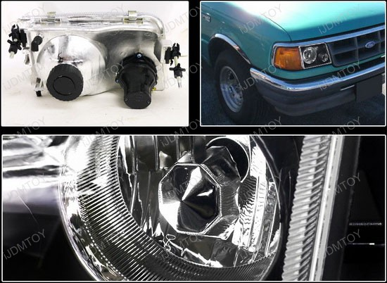 93 97 Ford Ranger Black Projector Headlights