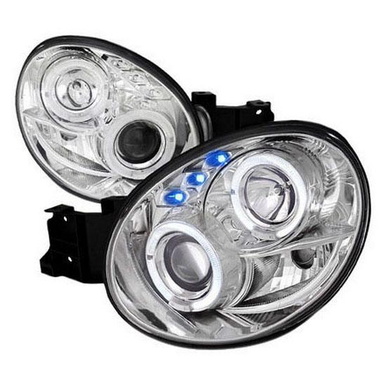 2002-2003 Subaru IMPREZA Chrome Housing Dual Halo Angel Eyes Projector LED Headlights