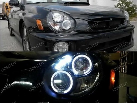 02-03 Subaru IMPREZA MODELS Black Housing Dual Halo Angel Eyes Projector LED Headlights