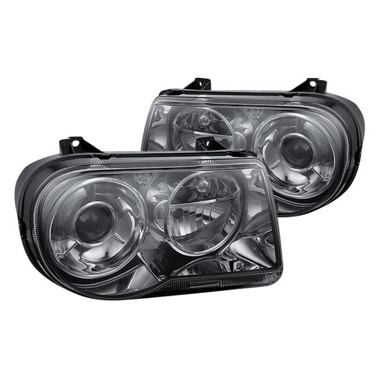 2005-2010 Chrysler 300C Smoked Housing Euro Headlights