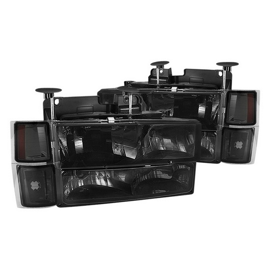 1994-1998 Chevy C/K Series 1500/2500/3500 Smoked Housing Euro Headlights