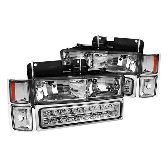 1994-1998 Chevy C/K C/10 1500/2500/3500 Chrome Housing Euro Headlights