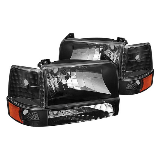 1992 1996 Ford F150 Bronco Black Housing Euro Headlights
