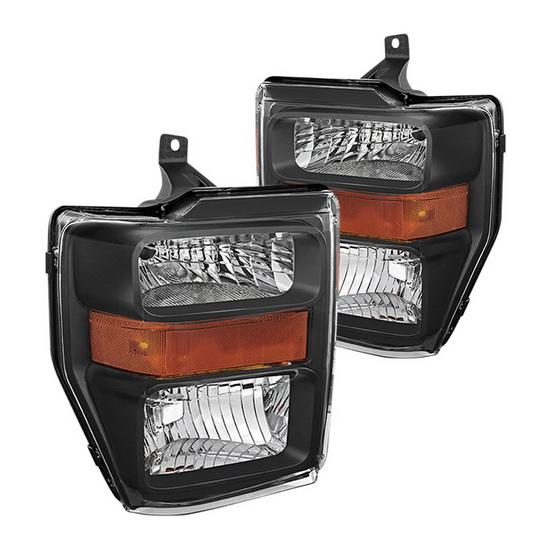 2008-2010 Ford F250/350/450 Super Duty Black Housing OEM Headlights