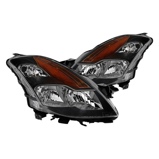 2008-2009 Nissan Altima Coupe Black Housing OEM Headlights