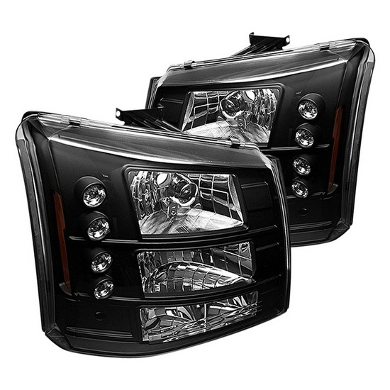 2003-2006 Chevy Silverado 1500/2500/3500 Black Housing Conversion Euro Headlights