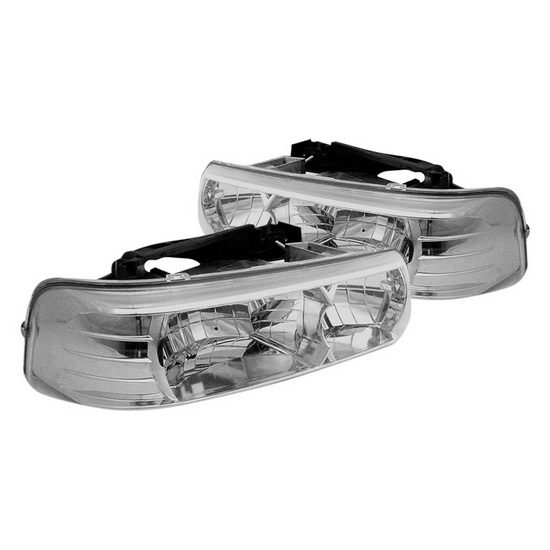 1999-2002 Chevy Silverado 1500/2500 Chrome Housing Crystal Headlights