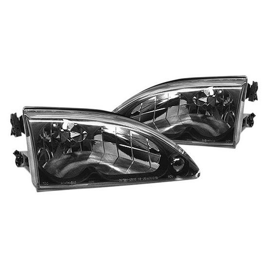 1994-1998 Ford Mustang Black Housing Crystal Headlights