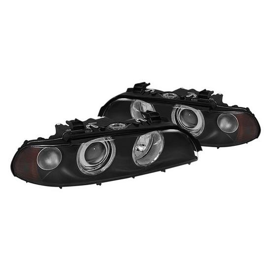 1997-2003 BMW E39 5-20Series Black Housing Halo Projector Headlights