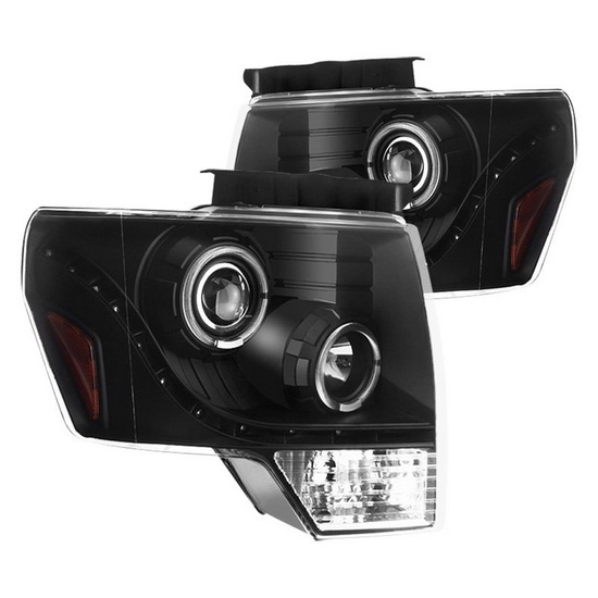 2009-2014 Ford F150 Black Housing Halo Angel Eyes LED Projector Headlights
