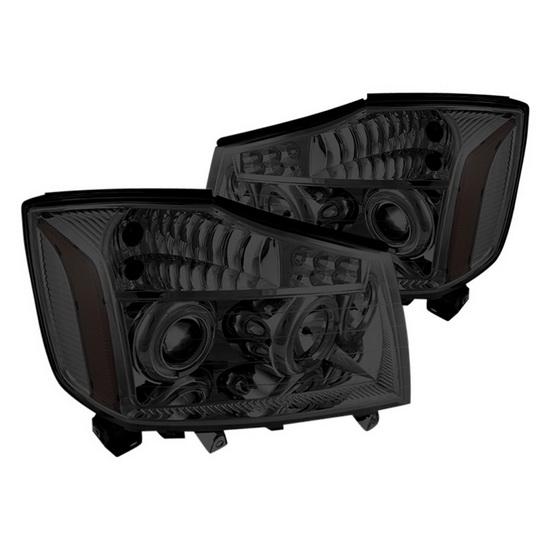 2004-2014 Nissan Titan Smoke Housing Halo Projector Headlights