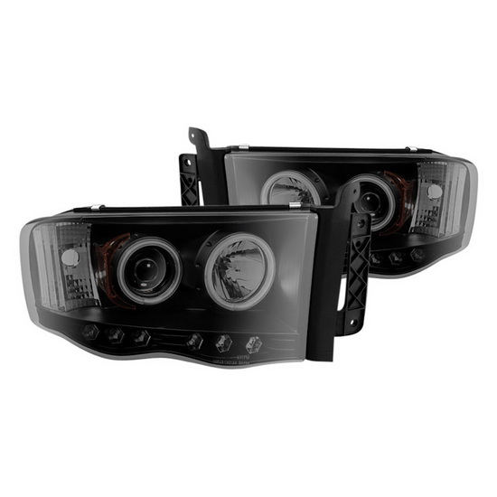2002-2005 Dodge Ram 1500 Black Smoke Housing CCFL Halo Projector Headlights