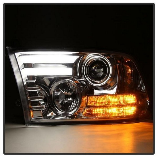 2013-2015 Dodge Ram LED Projector Headlights with Light Bar DRL