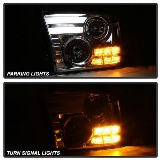 2013-2015 Dodge Ram LED Projector Headlights with Light Bar DRL