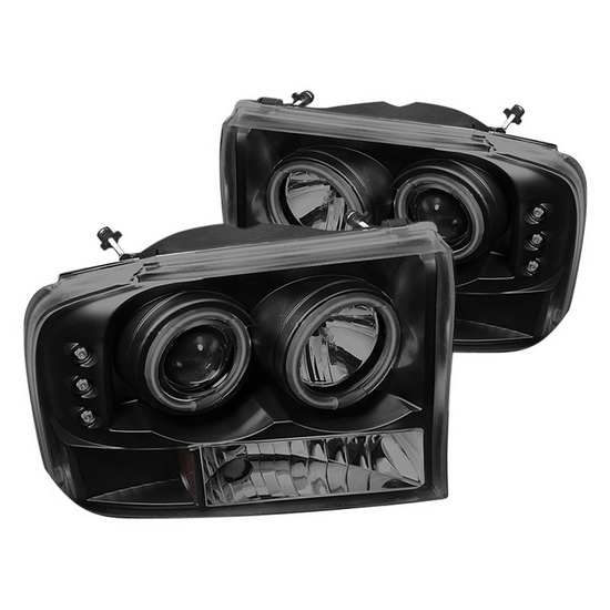 1999-2004 Ford F250 Super Duty Black Smoke Housing CCFL Halo Projector Headlights