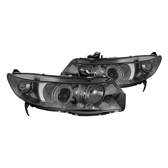 2006-2008 Honda Civic 2Dr Smoke Housing CCFL Halo Projector Headlights