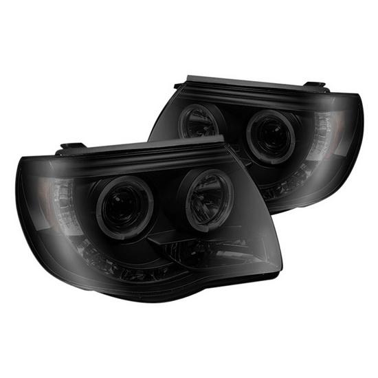 2005-2011 Toyota Tacoma Black Smoke Housing Halo Projector Headlights
