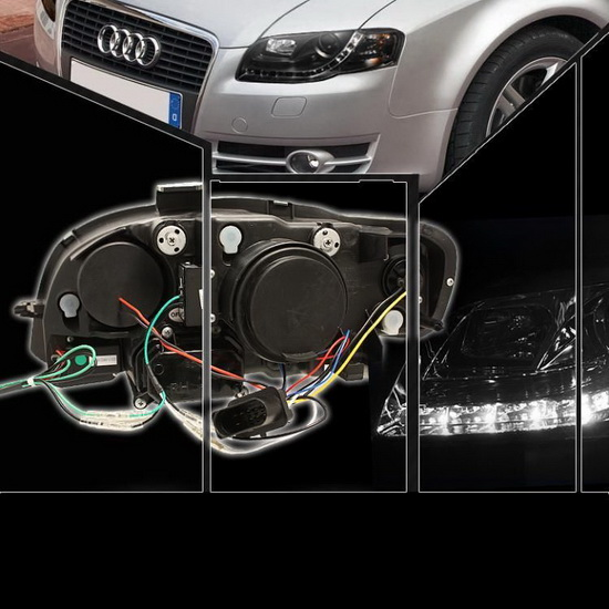 2006-2008 Audi A4 Black Housing Projector Headlights with LED DRL