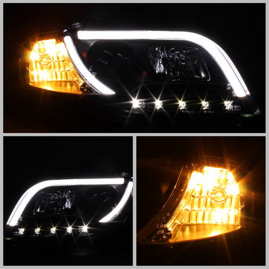 2006-2008 Audi A4 Black Housing Projector Headlights with R8 Style LED Strip DRL