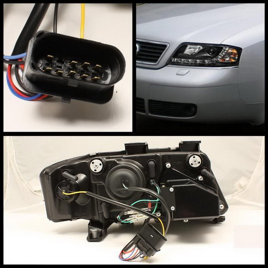 2002-2004 Audi A6 Black Housing Projector Headlights with LED DRL