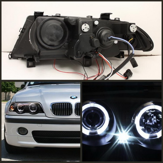 1999 01 Bmw E46 3 Series Black Led Halo 1pc Projector Headlights