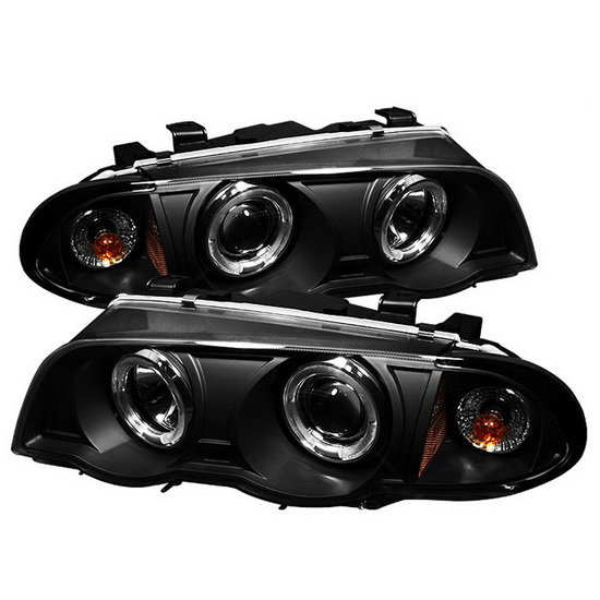 1999-2001 BMW E46 3-Series Black Housing LED Halo Angel Eyes 1PC Projector Headlights with Amber Reflector