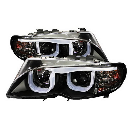 2002-2005 BMW E46 3-Series Black Housing 1PC Projector Headlights with 3D Fiber Optics LED DRL Halo