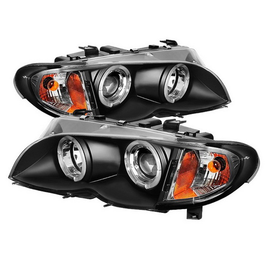 2002-2005 BMW E46 3-Series Black Housing LED Halo Angel Eyes 1PC Projector Headlights
