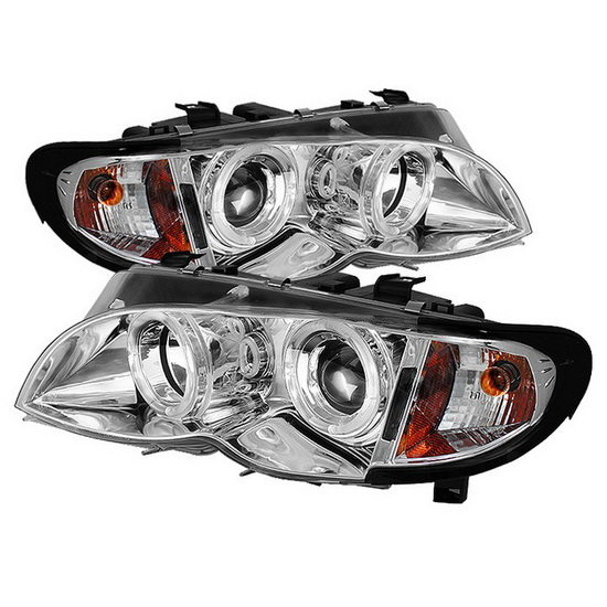 2002-2005 BMW E46 3-Series Chrome Housing LED Halo Angel Eyes 1PC Projector Headlights